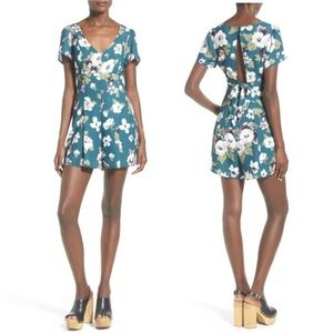 Leith Teal Floral Romper w/ Partial Open Back XS